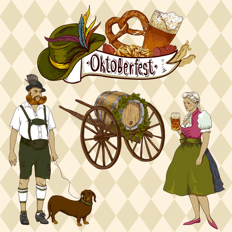 Projeto da celebração de Oktoberfest ilustração do vetor