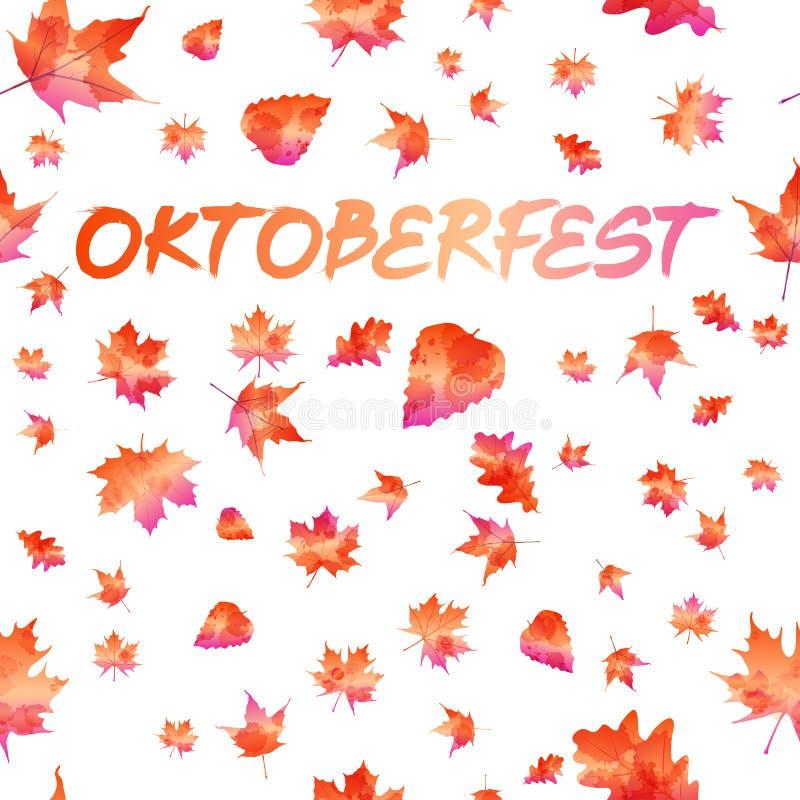Projeto da celebração de Oktoberfest com chapéu e as folhas de outono bávaros ilustração royalty free