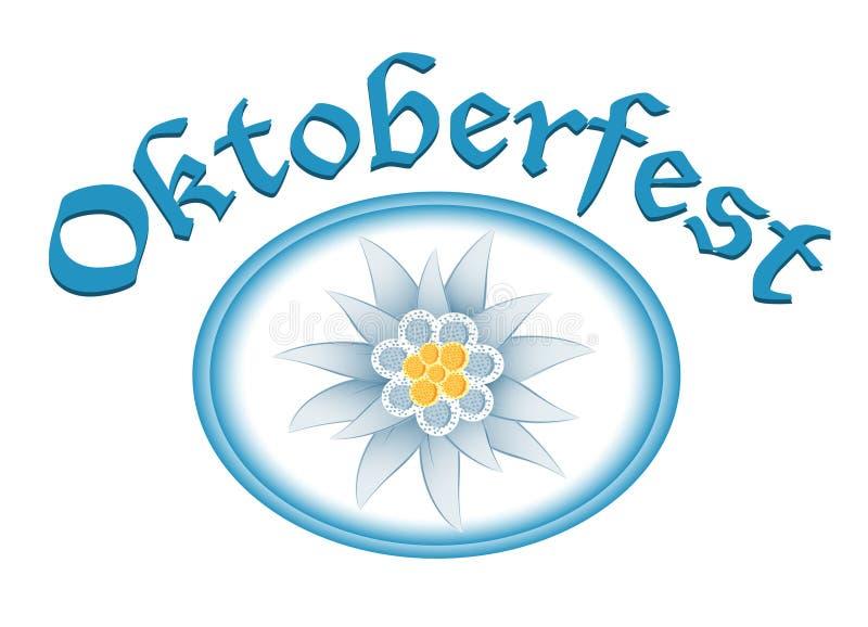 Projeto da celebração de Oktoberfest com edelweiss ilustração do vetor