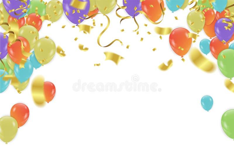 Projeto da celebração do aniversário, com balões e confetes, Colo ilustração stock