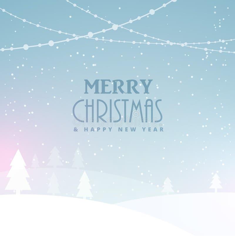 Projeto da celebração do Feliz Natal com neve e árvores ilustração stock