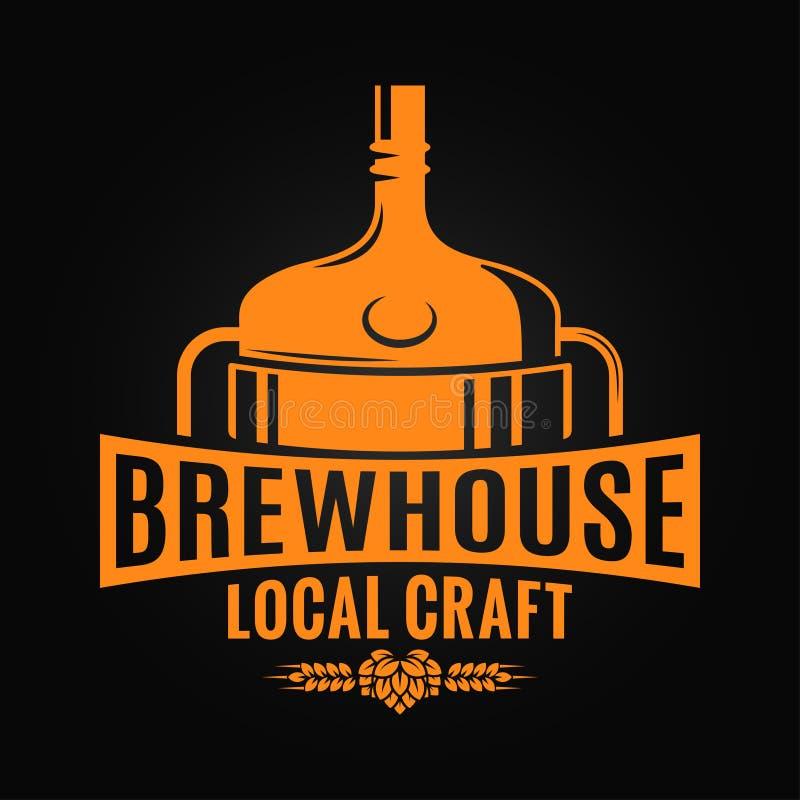 Projeto da cervejaria do tanque da cerveja Logotipo do ofício da cervejaria no fundo preto ilustração stock