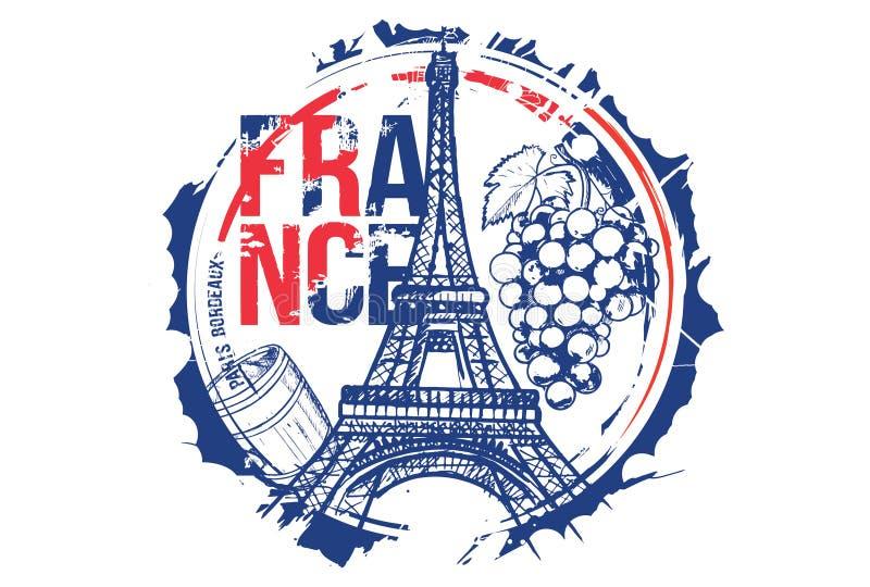 Projeto da cidade do Bord?us, Paris, Fran?a Ilustra??o desenhada m?o imagem de stock royalty free