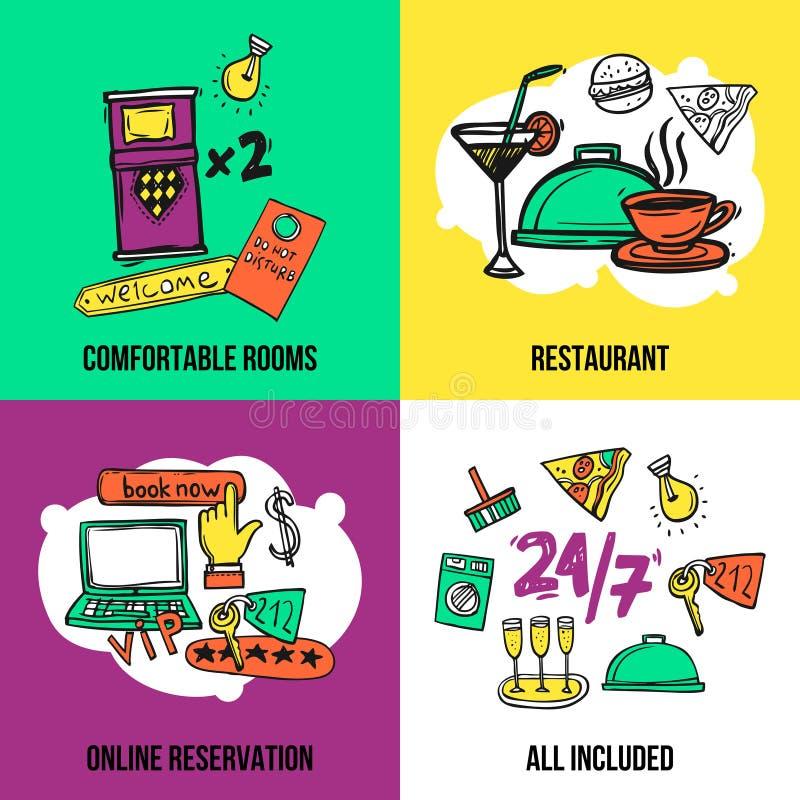 Projeto da composição dos ícones do conceito do hotel ilustração do vetor