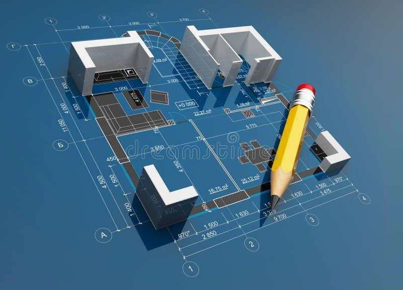 Projeto da construção. ilustração 3D ilustração royalty free