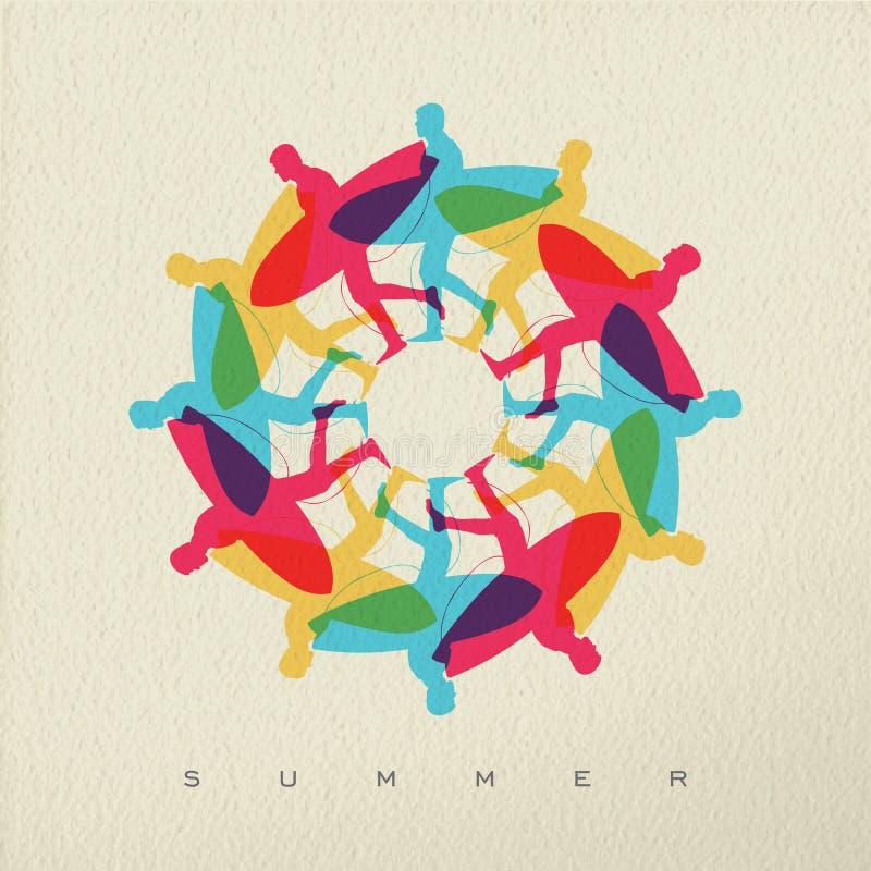 Projeto da cor do conceito do fundo da ressaca da praia do verão ilustração do vetor