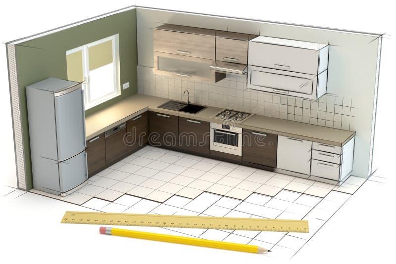 Projeto da cozinha, ilustração 3D ilustração do vetor