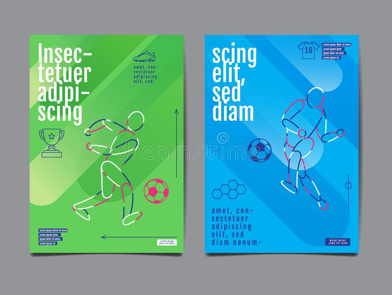 Projeto da disposição do esporte do molde, ilustração gráfica, futebol, futebol, ilustração do vetor ilustração stock