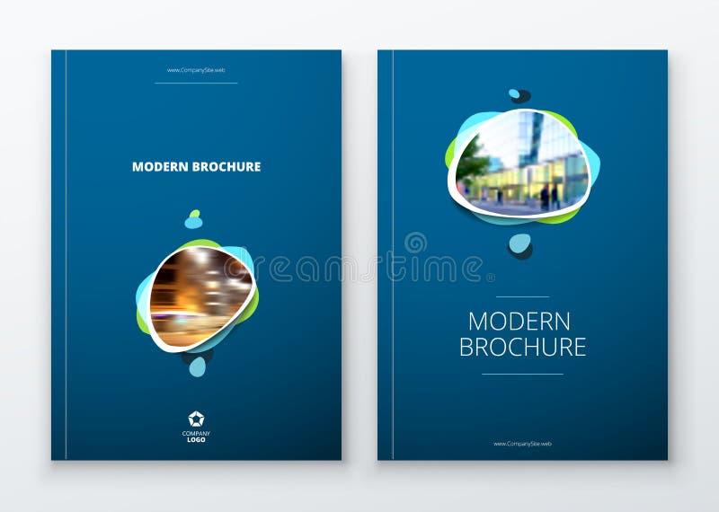 Projeto da disposição do molde do folheto Informe anual da empresa, catálogo, compartimento, modelo do inseto Moderno criativo ilustração do vetor