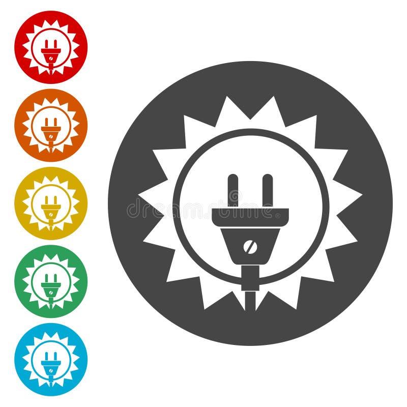 Projeto da energia solar, logotipo do sol da eletricidade do poder ilustração stock