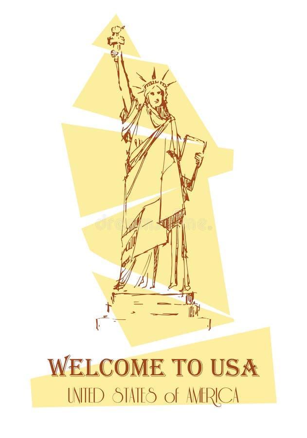 Projeto da estátua da liberdade para cartões, guia, lembrança e outro Marco de New York Símbolo americano ilustração royalty free