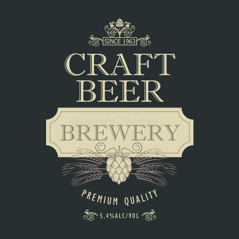 Projeto da etiqueta da cerveja ilustração stock