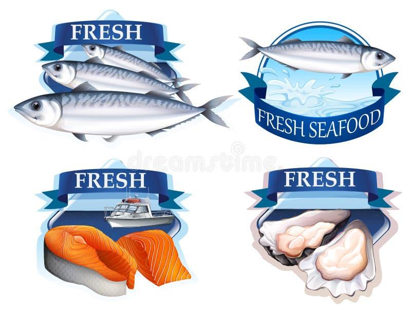 Projeto da etiqueta com palavra e marisco ilustração stock
