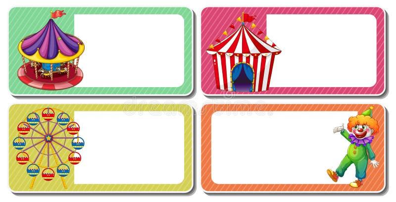 Projeto da etiqueta com palhaço e tendas do circus ilustração do vetor