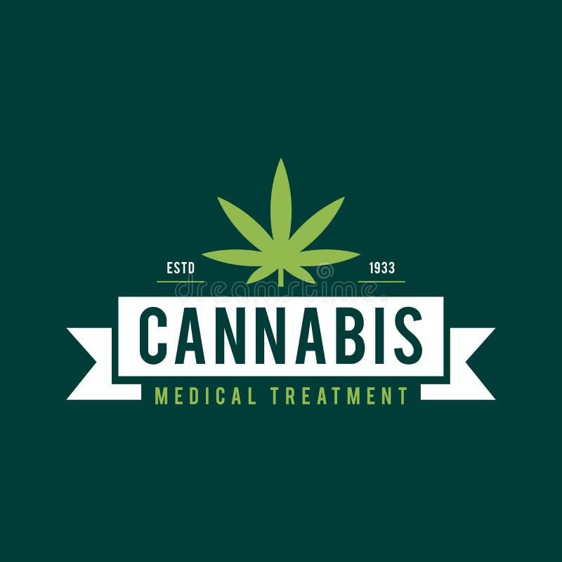 Projeto da etiqueta da marijuana do vintage, saúde do cannabis e terapia médica, ilustração do vetor ilustração do vetor