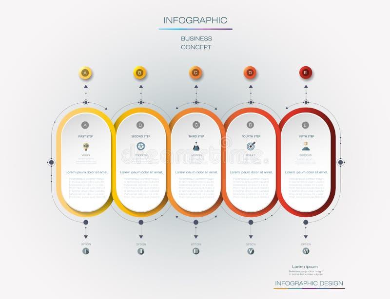 Projeto da etiqueta de Infographic do vetor com ícones e 5 opções ou etapas ilustração do vetor