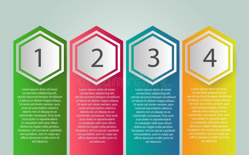 Projeto da etiqueta de Infographic do vetor com ícones e 4 opções ou etapas ilustração stock