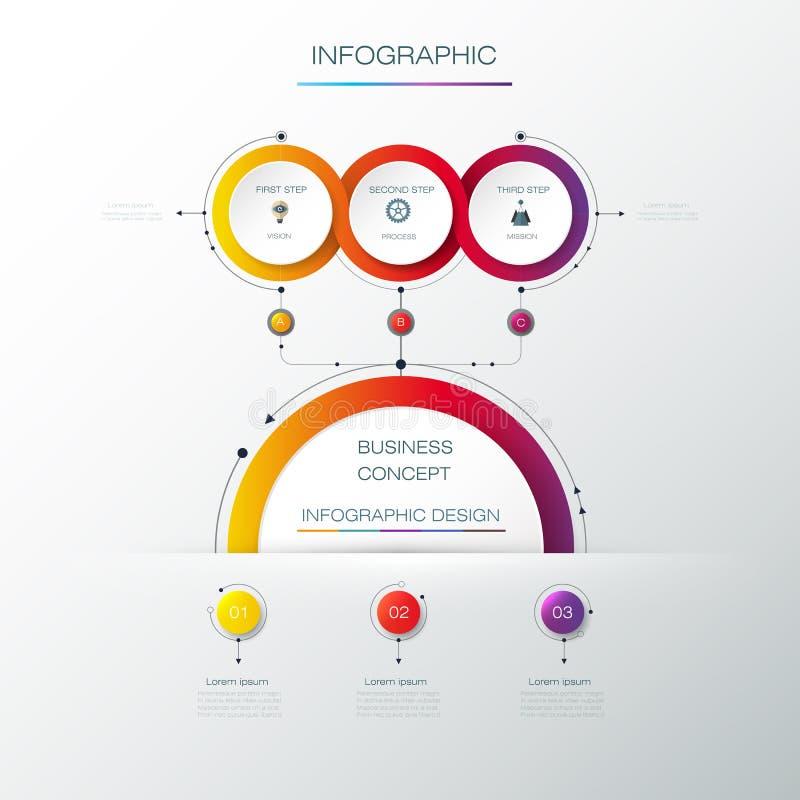 Projeto da etiqueta de Infographic do vetor com ícones e 3 opções ou etapas ilustração stock