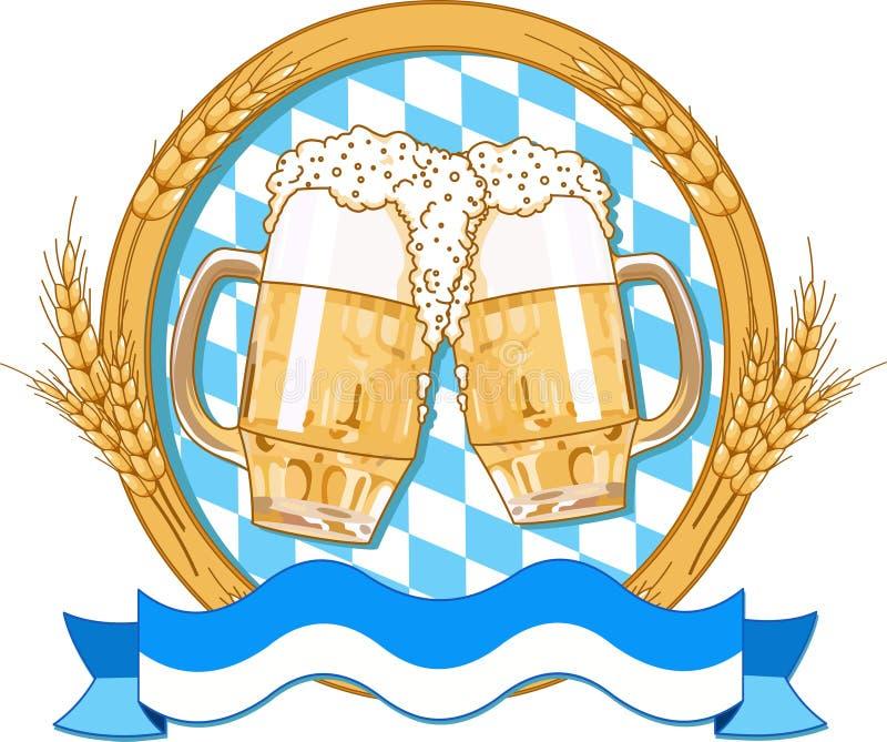 Projeto da etiqueta de Oktoberfest ilustração royalty free