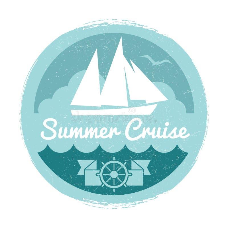 Projeto da etiqueta do cruzeiro do verão do vintage com iate ilustração stock