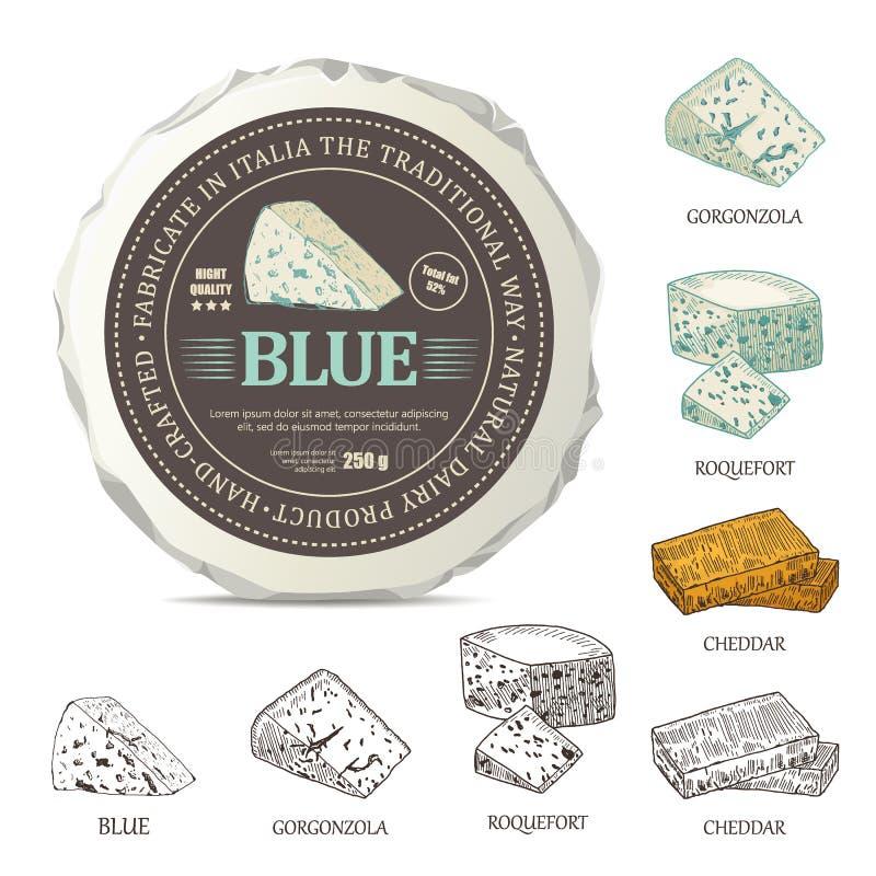 Projeto da etiqueta do queijo azul no envoltório do modelo Etiqueta do vetor com os coalhos do esboço ajustados ilustração do vetor