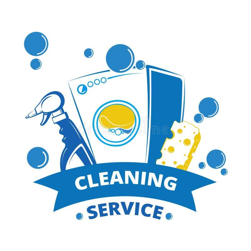 Projeto da etiqueta do serviço da limpeza Logotipo amarelo e azul da lavanderia ilustração do vetor