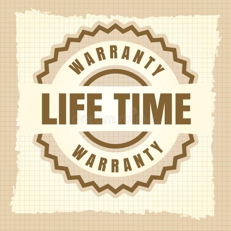 Projeto da etiqueta do vintage da garantia do tempo da vida ilustração stock