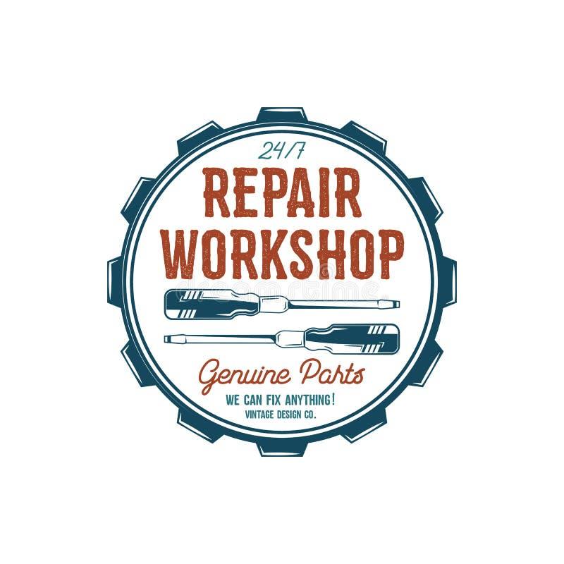 Projeto da etiqueta do vintage Repare o emblema da oficina no estilo retro das cores com ferramentas da garagem - chaves de fenda ilustração do vetor