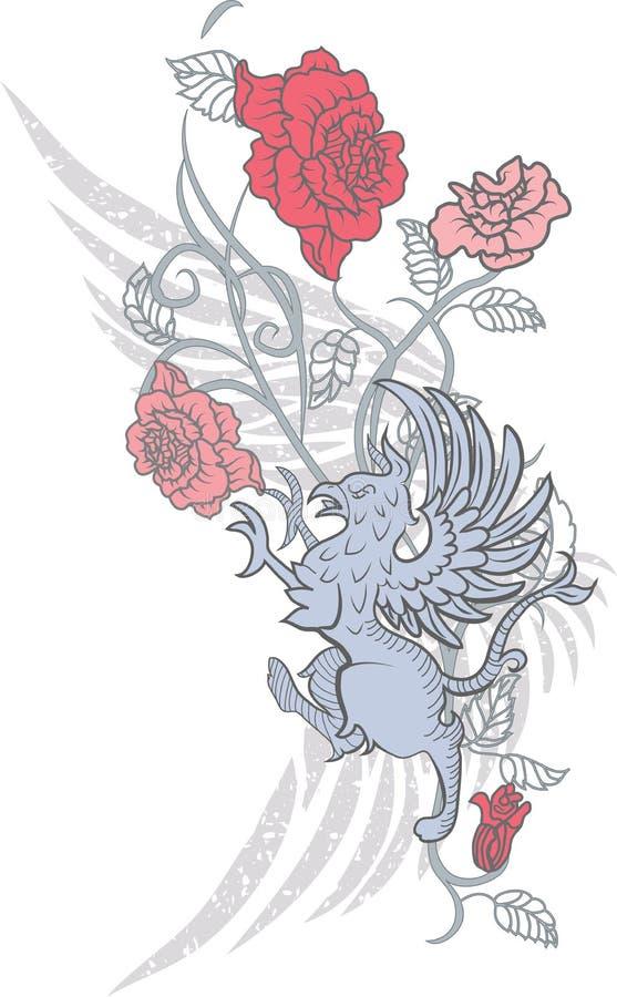 Projeto da fantasia com gryphon e rosas ilustração royalty free