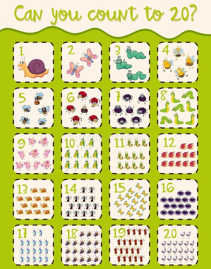 Projeto da folha da matemática para contar a vinte ilustração royalty free
