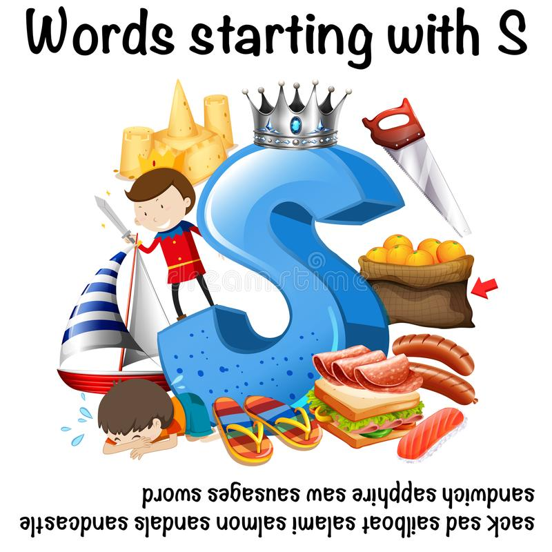 Projeto da folha para as palavras que começam com S ilustração royalty free