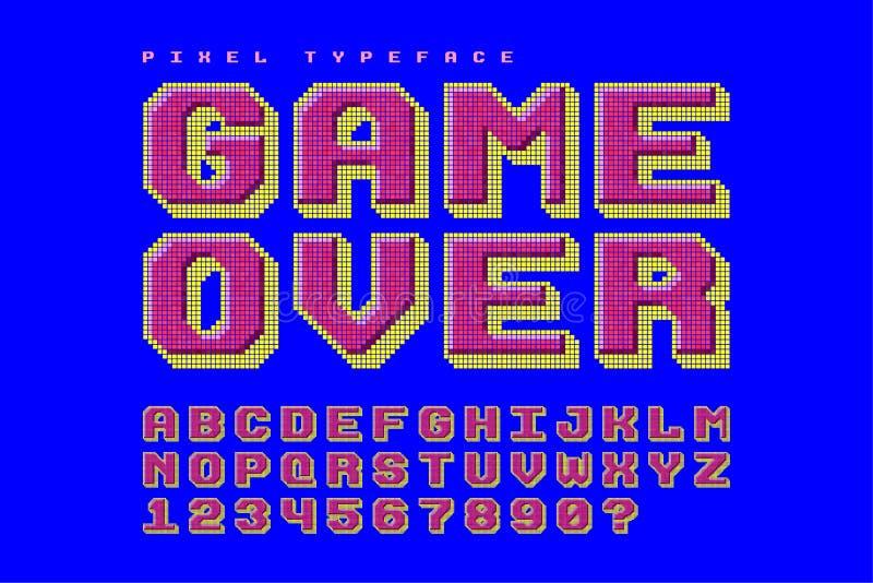 Projeto da fonte de vetor do pixel, estilizado como em jogos de 8 bits ilustração royalty free