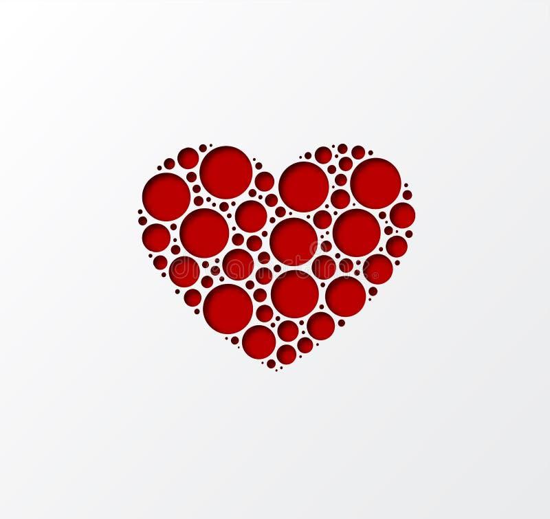 Projeto da forma 3D do coração do corte do papel Molde para fundos do dia e do cartão de Valentim Vetor ilustração do vetor