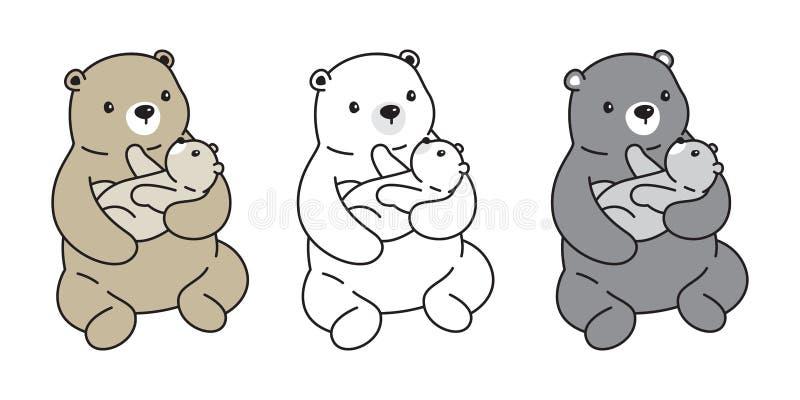 Projeto da garatuja da ilustração do personagem de banda desenhada do logotipo da criança do pão da peluche do urso polar do ícon ilustração do vetor