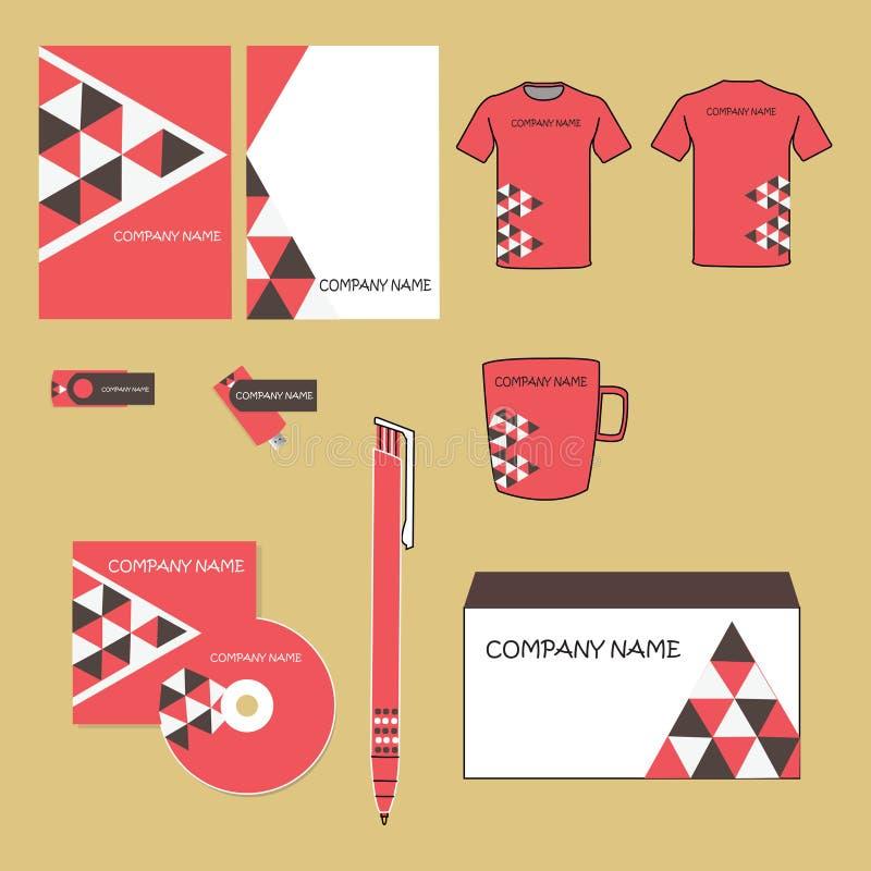 Projeto da identidade corporativa do vetor O triângulo geométrico vermelho e marrom dá forma à pirâmide Documentação do negócio imagens de stock