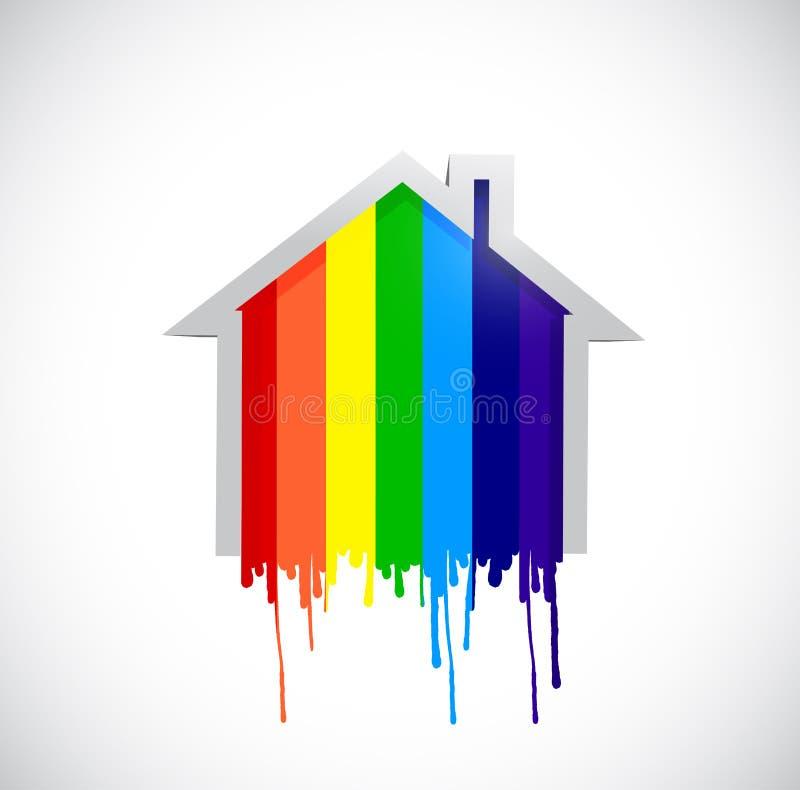 Projeto da ilustração da casa da gota do arco-íris da tinta ilustração do vetor