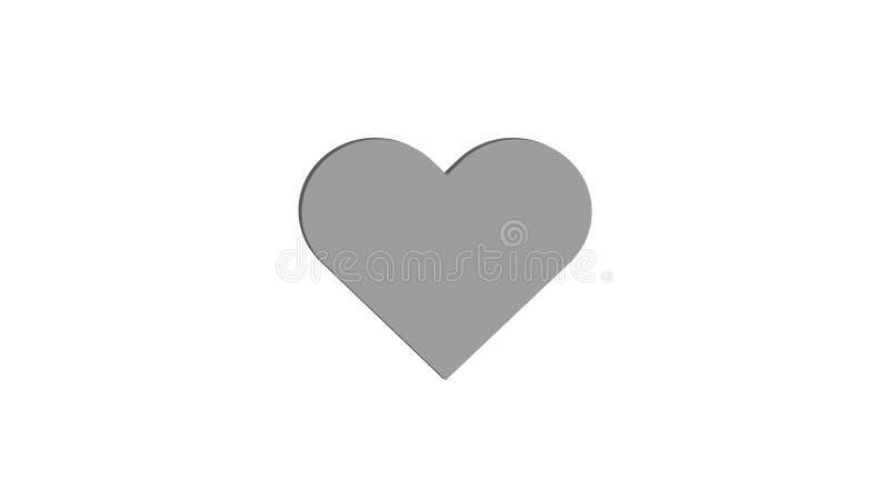 projeto da ilustração de 3D Grey Heart Simple Love Vetora fotos de stock