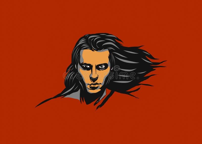 Projeto da ilustração de um man' novo; cara de s com cabelo longo e fundo vermelho ilustração royalty free