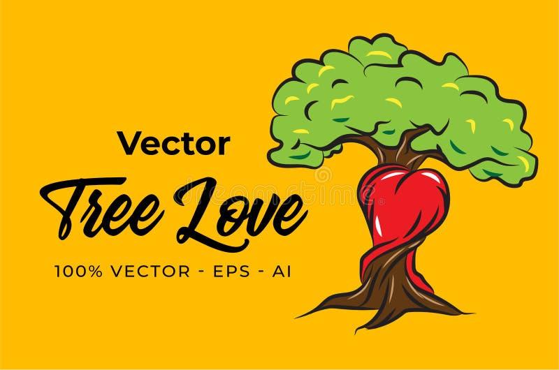 Projeto da ilustração do amor da árvore do vetor fotografia de stock