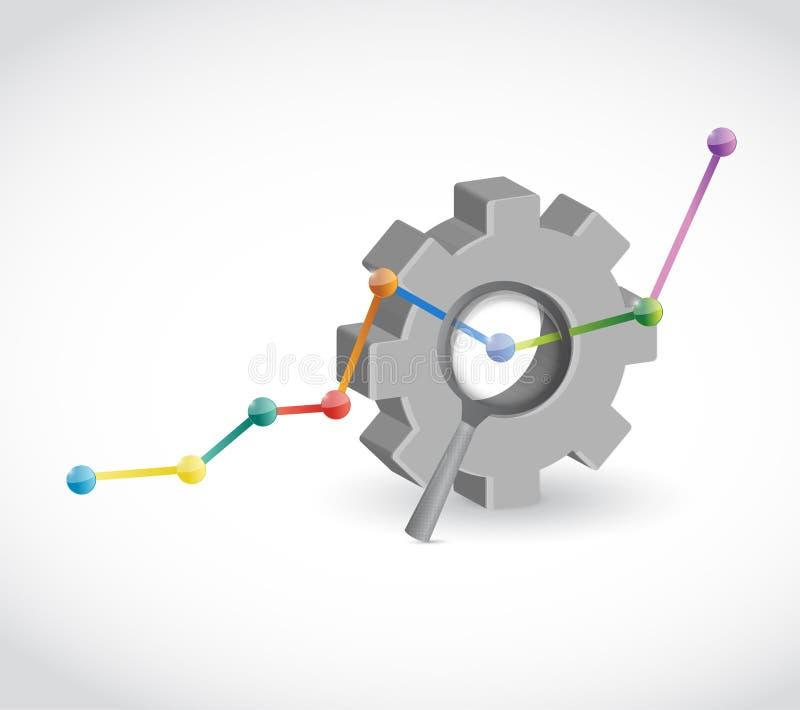 Projeto da ilustração do gráfico de negócio industrial da engrenagem ilustração do vetor