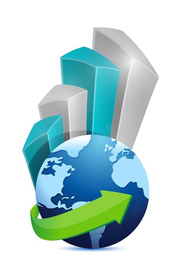 Projeto da ilustração do gráfico do globo do negócio ilustração do vetor
