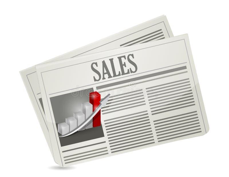 Projeto da ilustração do jornal das vendas do negócio ilustração do vetor