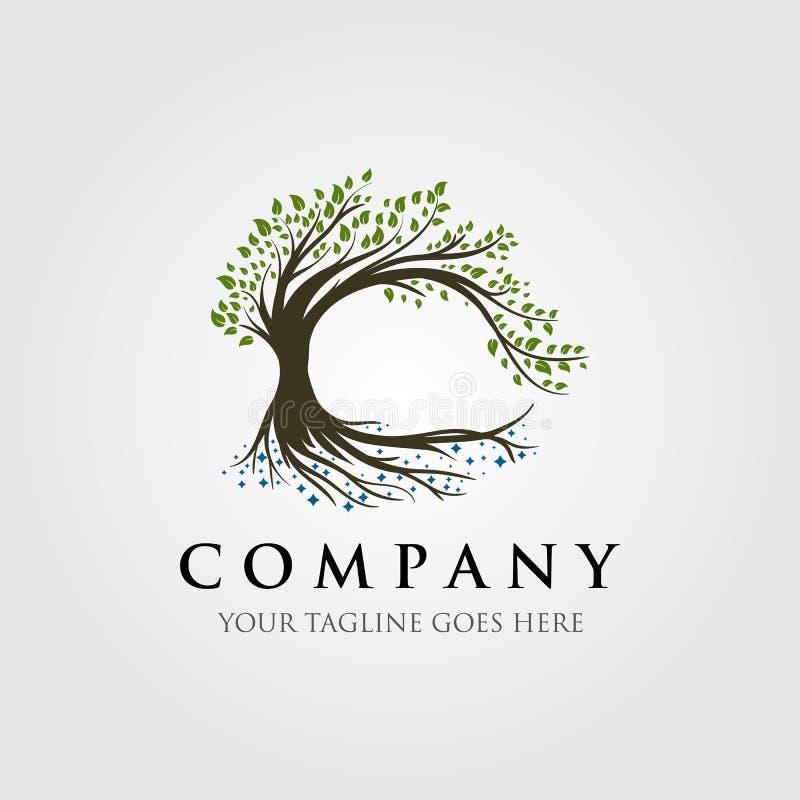 Projeto da ilustração do logotipo da árvore, logotipo da natureza imagens de stock royalty free