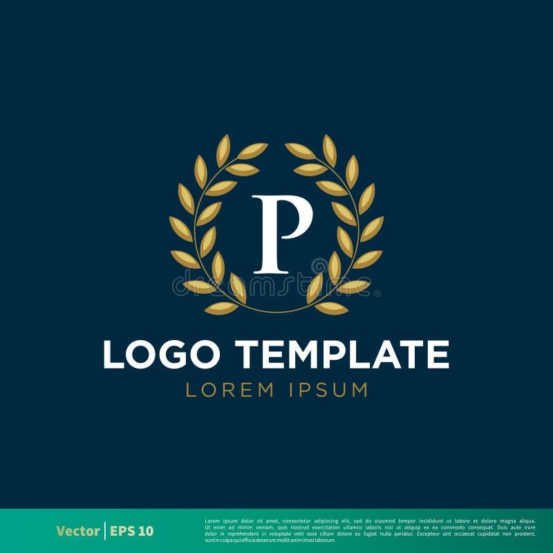 Projeto da ilustração do molde de Laurel Border Icon Vetora Logo da grinalda da letra de P Vetor EPS 10 ilustração royalty free