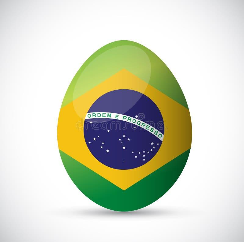 Projeto da ilustração do ovo da bandeira de Brasil ilustração stock