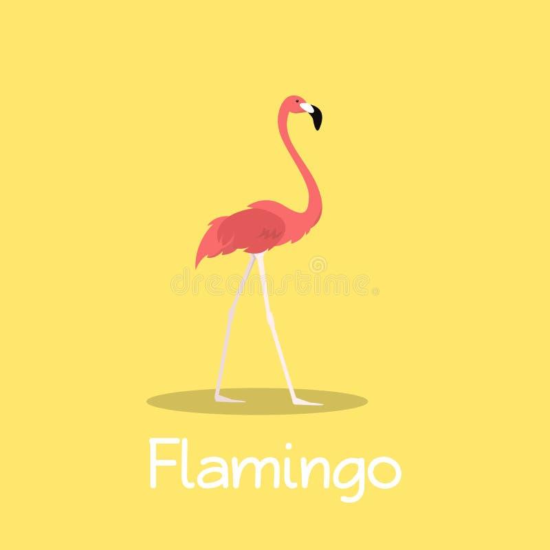 Projeto da ilustração do pássaro do flamingo no fundo amarelo ilustração royalty free