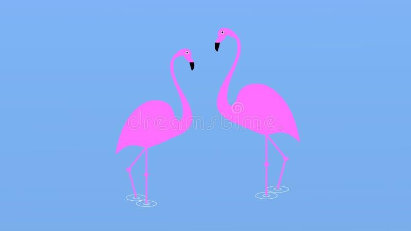 Projeto da ilustração do pássaro do flamingo no fundo Estilo liso mínimo ilustração do vetor