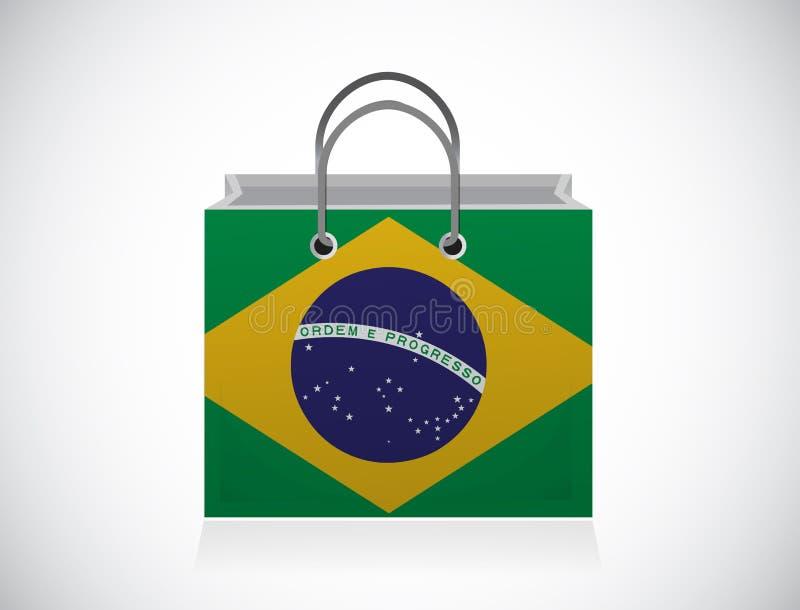Projeto da ilustração do saco de compras da bandeira de Brasil ilustração do vetor