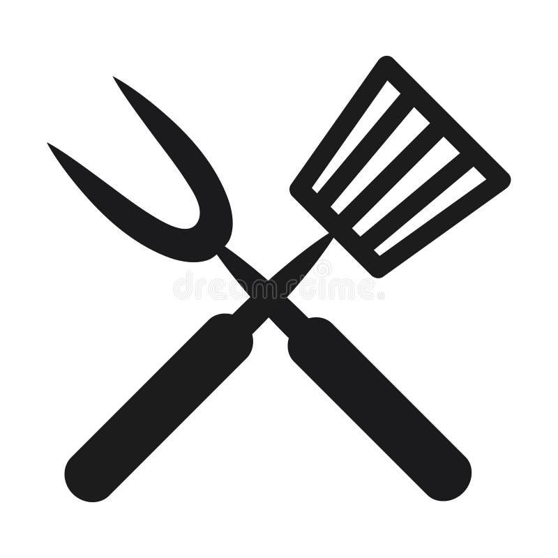Projeto da ilustração do vetor do ícone da cutelaria do utensílio da repreensão ilustração do vetor
