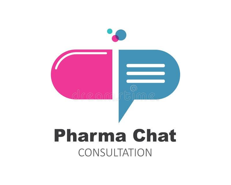 projeto da ilustração do vetor do ícone do logotipo da consulta do bate-papo da farmácia ilustração stock
